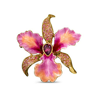 Jay Strongwater Clarice Orchid Pin, Large
