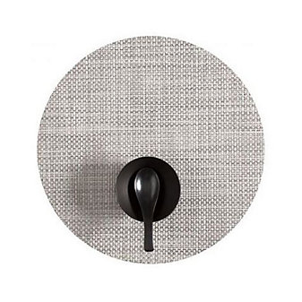 Chilewich Basketweave Round Placemat, White and Silver