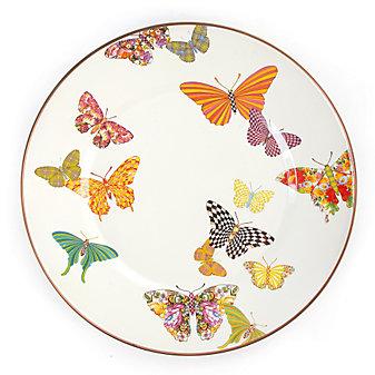 MacKenzie-Childs Butterfly Garden White Dinner Plate