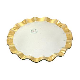 Annieglass Gold Ruffle Buffet Plate