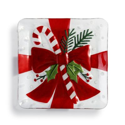 PRESENT CANDY CANE SQUARE PLATTER