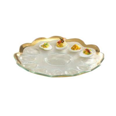 annieglass roman antique gold deviled egg platter