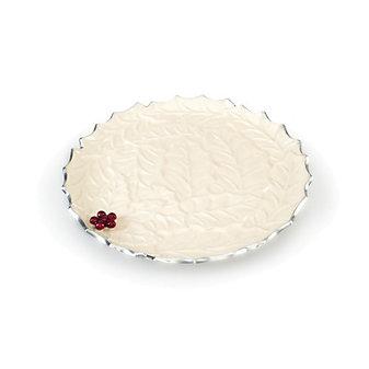 """Julia Knight Snow Holly Sprig Round Platter, 13"""""""
