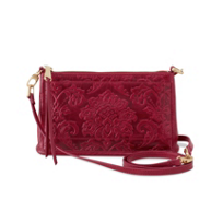 Hobo_Cadence_Damask_Emboss_Red_Plum_Convertible_Crossbody