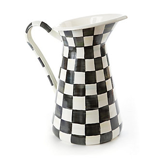 Mackenzie Childs Courtly Check Enamel Practical Pitcher