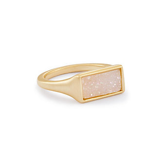 kendra scott glenna iridescent drusy yellow tone cocktail ring, size 7