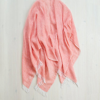 Mer-Sea Linen Travel Wrap, Coral