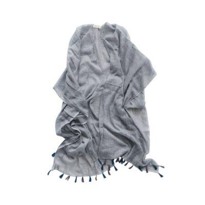 mer-sea slate cotton tassle wrap with bag