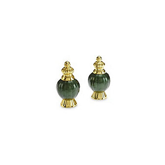 Julia Knight Gold Emerald Peony Salt & Pepper Set, 4""