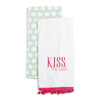 8 Oak Lane Kiss Kitchen Hand Towels, Set of 2