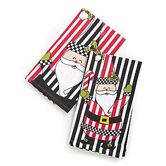 Mackenzie-Childs Jolly Santa Towels, Set of 2