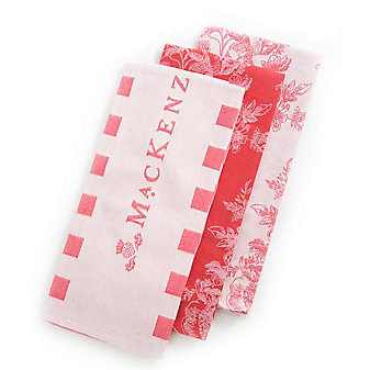 makenzie-childs wild rose dish towels red set of 3
