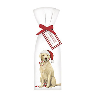 mary lake-thompson yellow lab with candy cane towel set