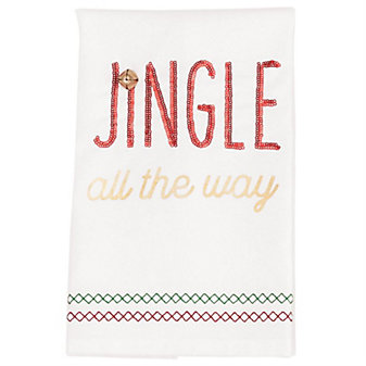 mud pie jingle all the way sequin hand towel
