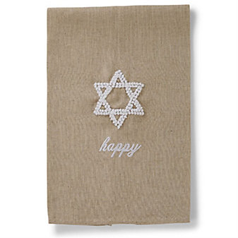 mud pie happy star of david french knot towel