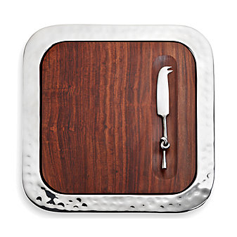 Mary Jurek Sierra Square Serving Tray with Wood Insert and Cheese Knife