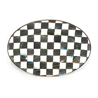 MacKenzie-Childs Courtly Check Small Enamel Oval Platter