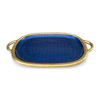 Julia Knight Gold Sapphire Florentine Handled Tray