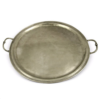 Match Pewter Round Tray with Handles