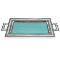 Julia_Knight_Aqua_Classic_Rectangular_Tray_with_Handles,_25""
