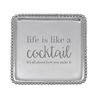 Life is Like a Cocktail Beaded Napkin Tray