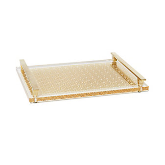 Kendra Scott Filigree Acrylic Tray Bright Brass 14X10