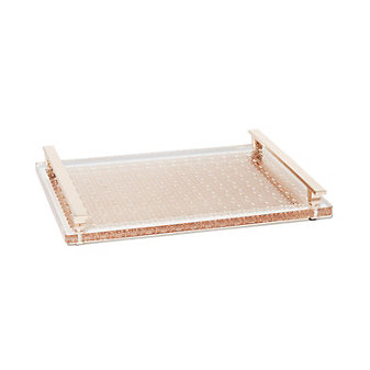 Kendra Scott Filigree Acrylic Tray Rose Gold Metal 14X10