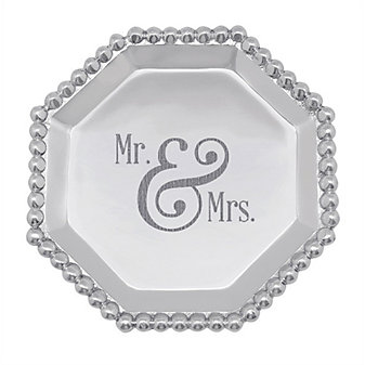 mariposa mr & mrs pearled octagonal tray