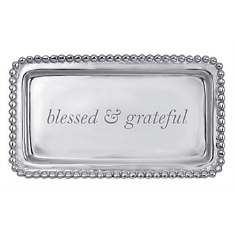 """mariposa """"blessed and grateful"""" beaded tray"""