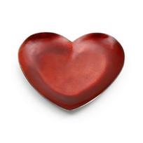 "Mary_Jurek_Symphony_Scarlet_Red_Enamel_Heart_Tray,_7"""