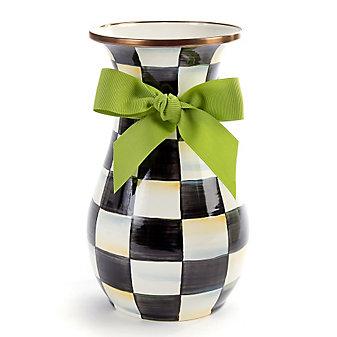 MacKenzie-Childs Courtly Check Tall Enamel Vase