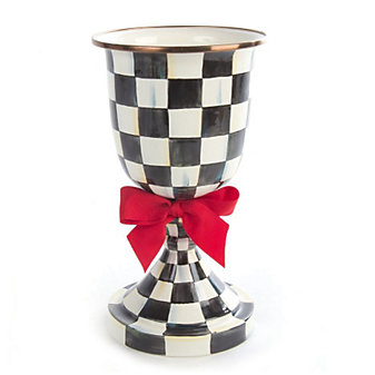 MacKenzie-Childs Courtly Check Enamel Pedestal Vase - Red Bow