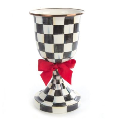 MacKenzie-Childs Courtly Check Enamel Pedestal Vase - Red Bow