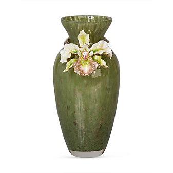 Jay Strongwater Loretta Orchid Vase, Leaf