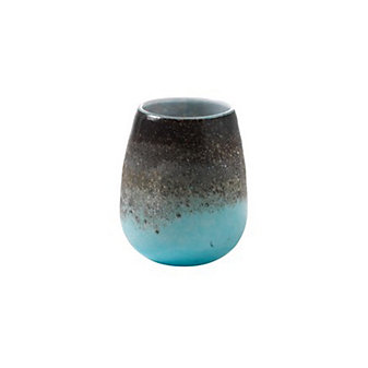 "Viterra Lava Earth Tone Turquoise Vessel, 7"""