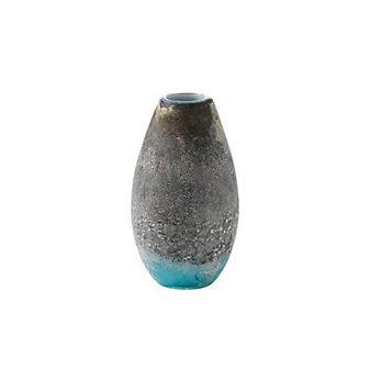 "Viterra Glass Lava Earth Tones Turquoise Vase, 11"""