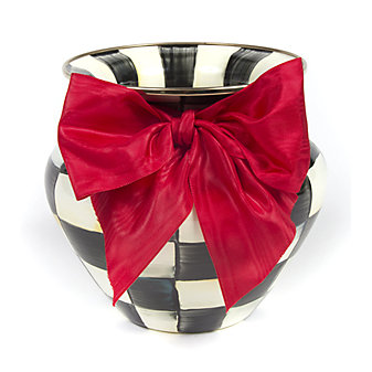 MacKenzie Childs Courtly Check Large Vase Red Bow