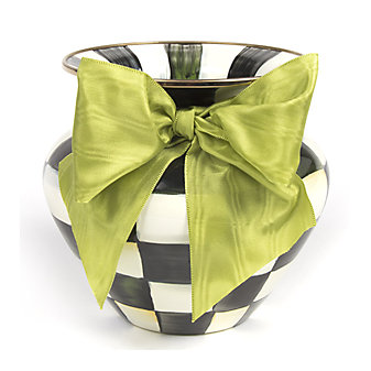 MacKenzie Childs Courtly Check Large Vase Green Bow
