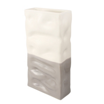 alex_marshall_studios_tall_rectangle_ripple_vase,_grey_&_matte_white_duo