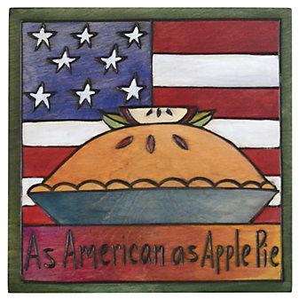 Sticks American As Apple Pie Plaque, 7X7
