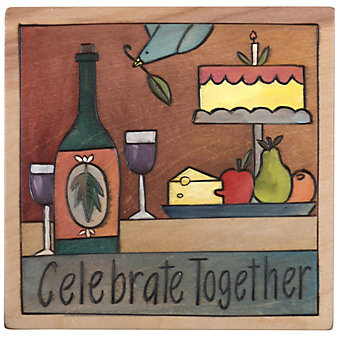 Sticks Celebrate Together Wine Cake Plaque, 7x7