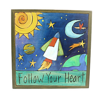 "Sticks 7"" x 7"" Follow Your Heart Wood Painting"