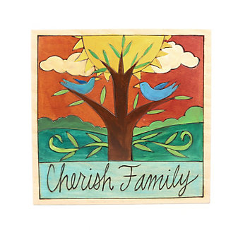 "Sticks 7"" x 7"" Cherish Family Wood Painting"