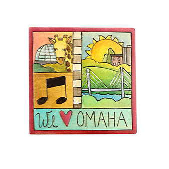 "Sticks 7"" x 7"" We Heart Omaha Wood Plaque"