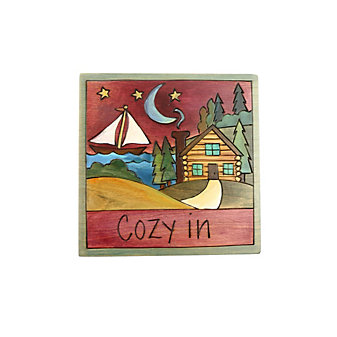 "Sticks 7"" x 7"" Cozy In Wood Plaque"