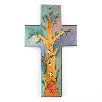 Sticks Wood Tree Heart Cross Plaque