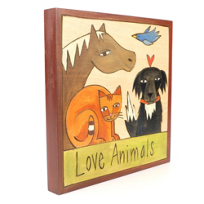 "Sticks_7""_x_7""__Wood_Love_Animals_Plaque"