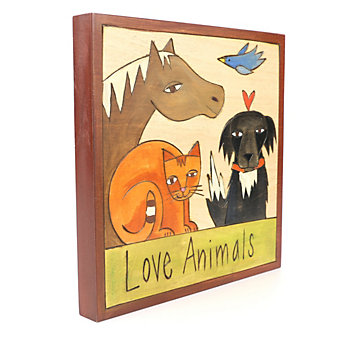 "Sticks 7"" x 7""  Wood Love Animals Plaque"