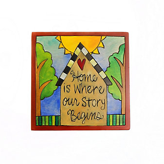 "Sticks 7"" x 7"" Home is Where Our Story Begins Wood Plaque"
