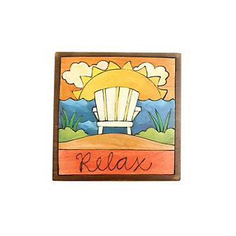 "Sticks 7"" x 7"" Wood Relax Plaque"